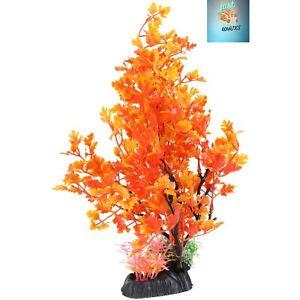 Aquarium Large Artificial Ornament Plastic Fake Plant FishTank Orange Leaf Tree