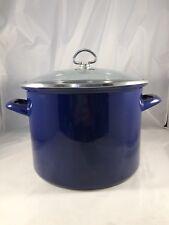 Chantal Cobalt Blue Enamel Stainless Steel 8qt Soup Stock Pot Glass Lid Heavy