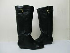 Steven By Steve Madden Intyce Black Leather Wedge Knee High Boots Women Sz 9.5 M