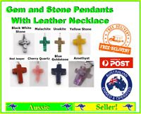 Gemstone Stone Cross Pendant Thin Leather Necklace with Metal Clasp NEW