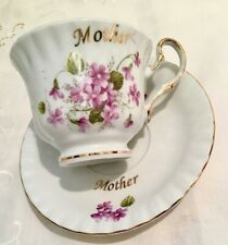 Vintage Darice English Bone China of Mother and Violets Teacup & Saucer Gold Tri