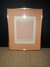 """Signed Titled """"Weavers Dream"""" Small Weave Art Peach & White Professionally Frame"""