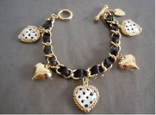 B116 BETSEY JOHNSON  White Stripey Hearts with Leopard Heart Bracelet US