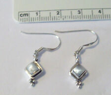Sterling Silver 15x8mm Square White Mother of Pearl Drop Earring wires add 13mm