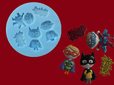 Super Power Hero Pow Boom Chicos Sugarcraft Decoración De Pasteles De Silicona Molde Set