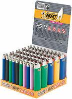 50 ACCENDINI BIC MEDI J23 Colorati Accendino Con Pietrina SLIM 1 Box