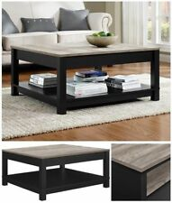 Wooden Coffee Table Square Rustic Wood Living Room Decoration Black Furniture1