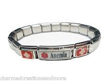 Anemia Blood Disorder Superlink 9mm Italian Charm Medical Alert Starter Bracelet