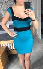 French connection bleu sarcelle & noir mini corps avec robe taille 6-utilisé