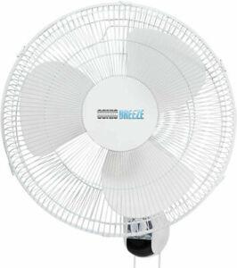 """SONIC BREE 16"""" Wall-Mount Fan Oscillating Fan W/80 Degree 3 Speed White"""