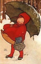 Mabel Lucie Attwell Card May Will Go Girl Snow Umbrella Hooded Cloak
