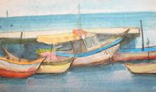 Vintage watercolor painting landscape seascape boats
