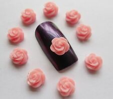 "3D Nail Art Acrylic Flowers ""Small Roses"" Pink/White/Black/Mix Nail Craft x 10pc"