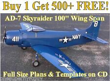 "AD-7 Skyraider 100"" WS Giant Scale RC Airplane Plans & Templates in PDF Format"