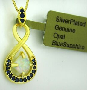 BLUE SAPPHIRE & GENUINE 0.73 Cts OPAL PENDANT NECKLACE .925 Silver *New With Tag