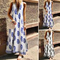 UK Women Sleeveless Floral Bohemia Deep V Beach Sundress Summer Party Maxi Dress