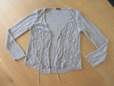 Ladies Marks and Spencer Per Una grey beige long sleeve cardigan, size M