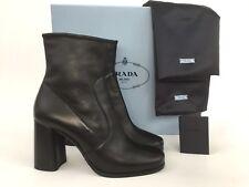 PRADA Black Leather Block Heel Side Zip Stretch Bootie 40/10