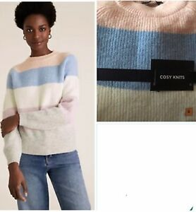 M&S Ribbed Striped Crew Neck Jumper Small
