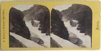 Suisse Chute Da La Reuss Foto A. Braun Stereo Vintage Albumina c1865