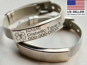 Personalized medical ID bracelet diabetic medical alert emergency bracelet