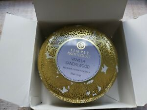 Simply Indulgent VANILLA SANDALWOOD SOY LUXURY CANDLE 3 wick With BOX 11OZ NEW