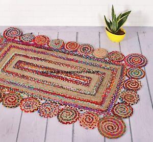 Indian Braided Floor Rug 3X5 Feet Reversible Floor Mat Rectangular Rugs Ethnic