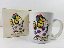 """Vintage 1991 On a Lark by Whitlark """"Feline Fine, Mon"""" Rasta Cat Mug, New in Box"""