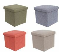 Single Seater Folding Ottoman Storage Pouffe Seat Cube Foot Box Stool 4Colours
