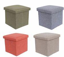 Single Seater Folding Ottoman Storage Pouffe Seat Cube Foot Box Stool 4Colours