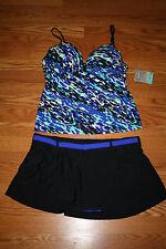 NWT Womens FREE COUNTRY Green Blue Tankini Black Swim Skirt Swim Suit Size M