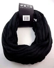 Classic ribbed knit scarf solid black linfinity snood solid black loop acrylic