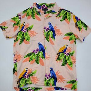 Forever 21 Mens S Tropical Hawaiian Short Sleeve Button Up Shirt Parrot Hibiscus