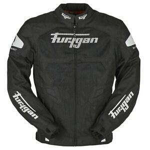 Furygan Atom Vented Sports Textile Mesh Motorcycle Jacket - Black / White
