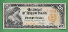 1912 BANK OF THE PHILIPPINES ISLANDS TWENTY PESO B125961< P-9B