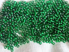GRASS GREEN White lined 6/0 E 35 grms Czech seed E beads