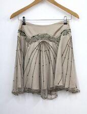 KAREN MILLEN Ladies Beige Satin Mid Rise Flippy Tulle Beaded Mini Skirt UK8