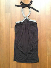 NWT Forever 21 Mocha Braided Silver Halter Banded Bottom Tunic Top Mini Dress S