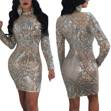 Sexy Women's Sequin Long Sleeve Clubwear Party Dress Midi Maxi Cocktail Bodycon