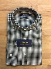 $145 Polo Ralph Lauren Gingham Long Sleeve Shirt, Olive, Size S.