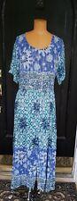 Vtg 1980s Bila Boho Hippie Peasant Dress Size M Batik Rayon Made In India
