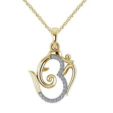 Ganesh Chaturthi Special Offer Om Ganpati Pendant Necklace 14K Yellow Gold Over