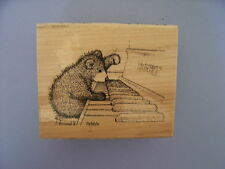 HOUSE MOUSE RUBBER STAMPS GRUFFIES PIANO PLAYER NEW WOOD STAMP