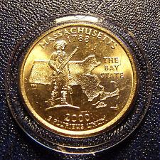 GEM Sharp GOLDEN  PLATED 2000 MASSACHUSETTS, Mint STATE Quarter in Nice Holder