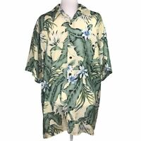 Hawaiian Silk Company Palm & Floral 100% Silk Button Down Shirt Short Sleeve Men