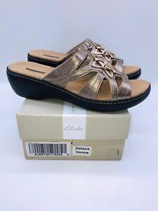 Clarks Women's Delana Venna Slide Sandal Pewter Leather US 11W