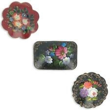 Set of 3 Wooden Hand Painted Flower Brooches in Various Shapes 2 Inches