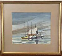 Vintage ORIGINAL Sailboats WATERCOLOR Painting Framed Signed Anthony Shemroske