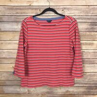Nautica Womens Large Cotton Knit Striped Tee Boat Neck Top Semi Fitted Basic