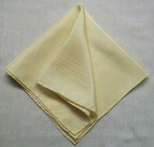 Mens Vintage Hankie Handkerchief 1980s 1990s Silk Cream Hand Finished Rolled